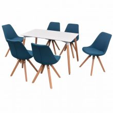 VID 7 darabos retro étkező szett - kék székekkel