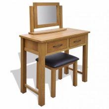 """VID Sminkasztal/fésülködőasztal tükörrel, ülőkével """"Tölgyfa"""""""