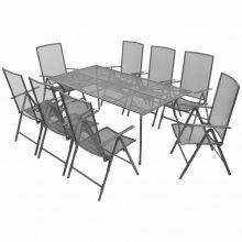 9 részes összecsukható acél étkezőgarnitúra