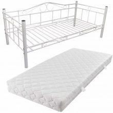 """Fém ágy 90x200 cm """"V4"""", matraccal, fehér színben"""