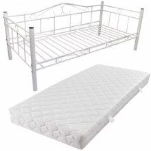 """VID Fém ágy 90x200 cm """"V4"""", matraccal, fehér színben"""