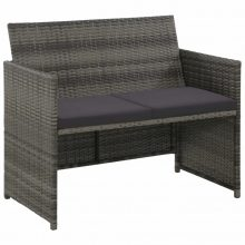 VID kétszemélyes szürke polyrattan kanapé 100 x 56 x 85 cm
