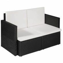 VID vidaXL 2 személyes fekete-krémfehér polyrattan kanapé 118 x 65 x 74 cm