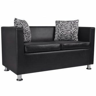 VID Fekete kétszemélyes műbőr kanapé zebramintás párnával