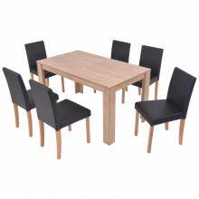 VID 7 részes étkezőgarnitúra - műbőr és tölgyfa - fekete