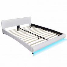 """PU bőr ágy 160x200 cm """"V15"""", LED világítással, fehér színben"""