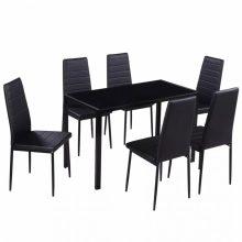VID Modern 7 részes étkező szett - fekete