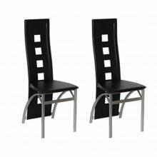 2 db étkezőszék acél lábakkal, műbőr üléssel, fekete színben