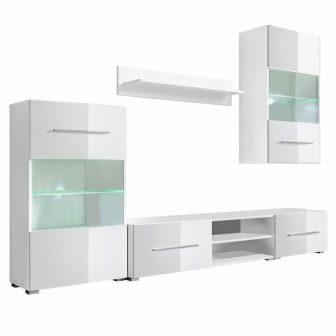 VID 5 részes fali állvány szett, LED világítással fényes fehér színben