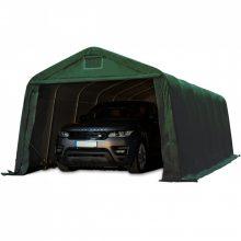Ponyvagarázs/ sátorgarázs / tároló-zöld színben-3,3x4,8m-tűzálló ponyvával, viharvédelmi szettel betonhoz-PVC 720g/nm