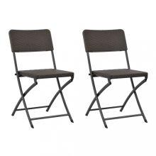 VID 2 db barna összecsukható acél és HDPE kerti szék