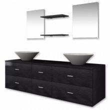 7 részes fürdőszoba bútor szett fekete színben, tágas szekrénnyel