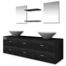 VID 7 részes fürdőszoba bútor szett fekete színben, tágas szekrénnyel