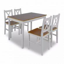 Fából készült asztal 4 db székkel barna-fehér színben