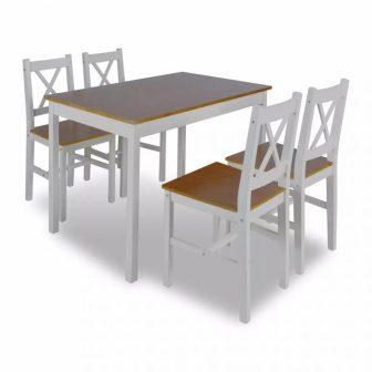 VID Fából készült asztal 4 db székkel barna-fehér színben