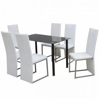 VID Modern 7 darabos étkező szett - fekete üvegasztallal