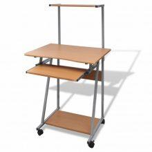 Kompakt íróasztal kihúzható billentyűzet tálcával, polccal, tölgy színben