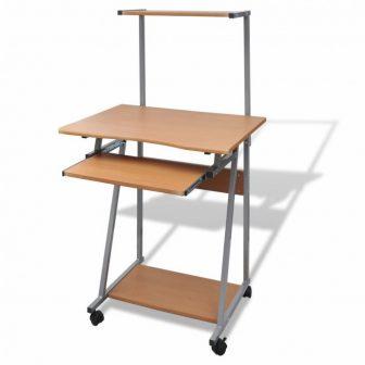 VID Kompakt íróasztal kihúzható billentyűzet tálcával, polccal, tölgy színben