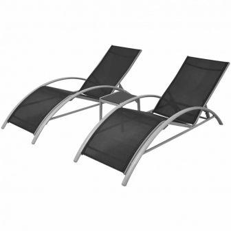 VID Fekete alumínium napozóágy szett asztalkával 330499