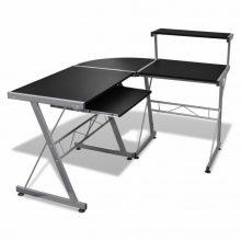 Fém számítógépasztal/munkaállomás, fekete színben