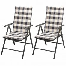 VID 2 db fekete alumínium polyrattan kerti szék párnával