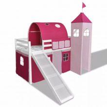 VID Emeletes ágy, gyermekágy csúszdával - királylányoknak fehér színben