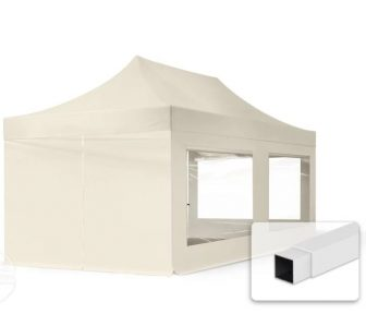 Professional összecsukható sátrak ECO 300g/m2 ponyvával, acélszerkezettel, 4 oldalfallal, panoráma ablakkal - 3x6m bézs