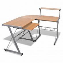 VID Fém számítógépasztal/munkaállomás, tölgy színben