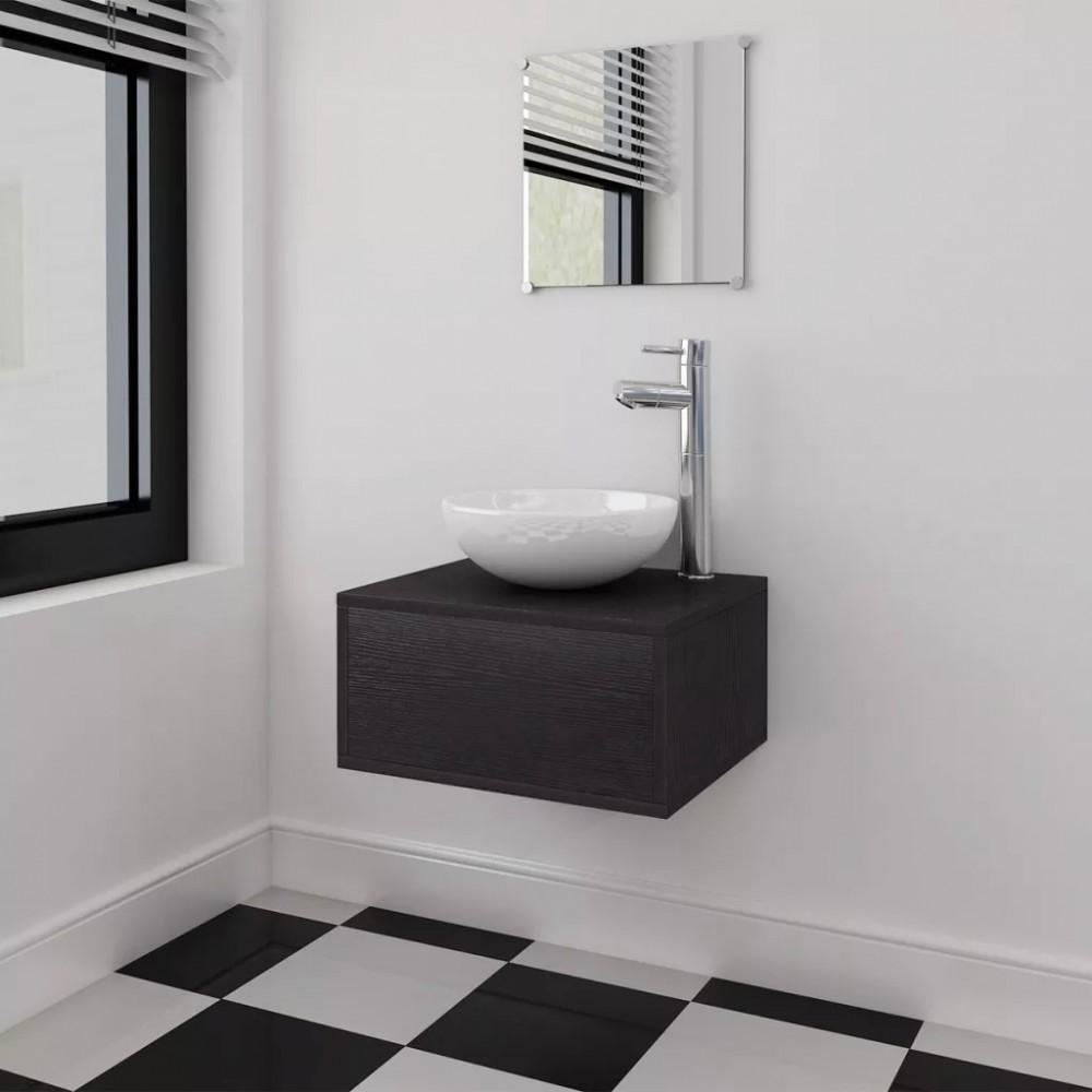 4 részes fürdőszoba bútor szett fekete színben, ovális mosdókagylóval és csapteleppel ...