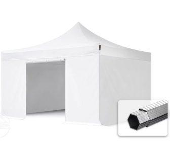Professional összecsukható sátrak PROFESSIONAL 400g/m2 ponyvával, alumínium szerkezettel, 4 oldalfallal, ablak nélkül - 4x4m fehér