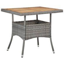 VID polyrattan és tömör akácfa kültéri étkezőasztal szürke