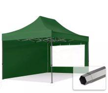 Professional összecsukható sátrak PREMIUM 350g/m2 ponyvával, acélszerkezettel, 2 oldalfallal, panoráma ablakkal - 3x4,5m zöld
