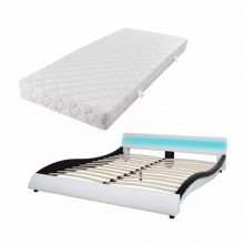 """VID PU bőr ágy 180x200 cm """"V20"""" matraccal, LED világítással, fehér-fekete színben"""