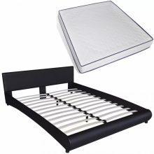 """PU bőr ágy 180x200 cm """"V15"""" memóriahabos matraccal, LED világítással, fekete színben"""