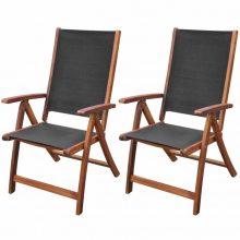 2 db összecsukható kerti akácfa szék fekete