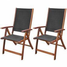 VID 2 db összecsukható kerti akácfa szék fekete