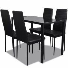 Fekete étkezőasztal szett 4 db székkel