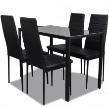 VID Fekete étkezőasztal szett 4 db székkel