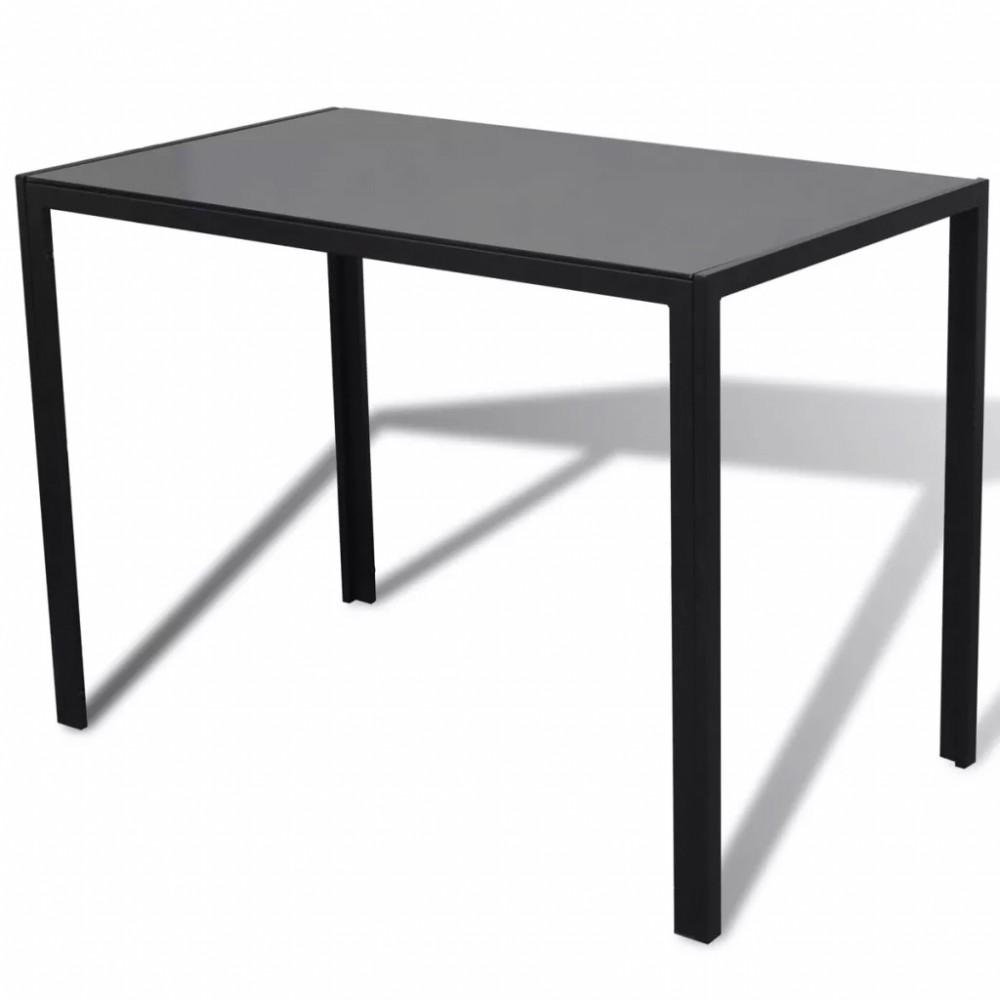Fekete étkezőasztal szett 4 db székkel - Discontmania.hu
