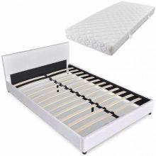 """PU bőr ágy 140x200 cm """"V16"""" matraccal, fehér színben"""