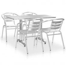 VID 5 részes ezüstszínű alumínium kültéri étkezőszett