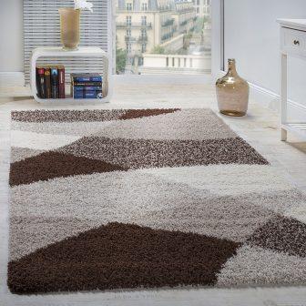 Shaggy bolyhos szőnyeg - Absztrakt mintával, barna - több választható méret