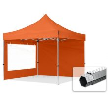 Professional összecsukható sátrak PROFESSIONAL 400g/m2 ponyvával, alumínium szerkezettel, 2 oldalfallal, panoráma ablakkal -  3x3m narancssárga