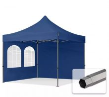 Professional összecsukható sátrak PREMIUM 350g/m2 ponyvával, acélszerkezettel, 2 oldalfallal, hagyományos ablakkal - 3x3m sötétkék