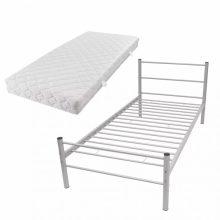 """VID Fém ágy 90x200 cm """"V07"""", matraccal, szürke színben"""