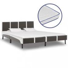 VID szürke és fehér műbőr ágy memóriahabos matraccal 180x200 cm