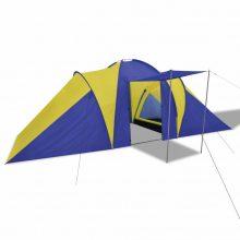 6 személyes kemping sátor Sötétkék/ sárga színben