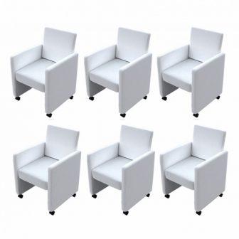 VID 6 db karfás étkezőszék, görgős lábakkal fehér színben