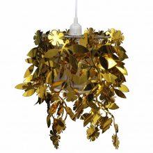 Mennyezeti lámpa Levél-Virág lapokkal arany színben