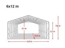 Ponyvagarázs/ sátorgarázs / tároló 6x12m-2,7m oldalmagasság, PVC 550g/nm kapuméret: 4,1x2,9m több színben